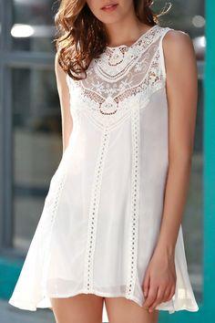 Spliced Openwork White Chiffon Dress WHITE: Chiffon Dresses   ZAFUL