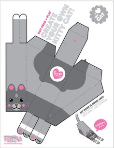custom paper toy kitty by thecuteinstitute, via Flickr - would be great for party boxes