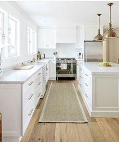 Jute rug, white kitchen