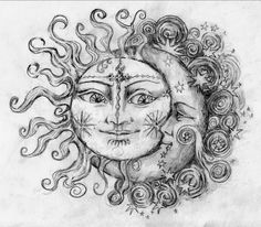 Tattoo Train: Sun and Moon Couple Tattoo that Can be used for Engraving by any tattoo engraver Zodiac Signs / Sun, Moon Stars Tattoo