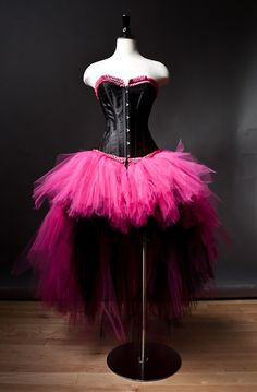 Custom Size hot pink and black tulle corset burlesque prom dress