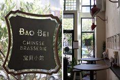 Bao Bei Brasserie in Vancouver - Remodelista Hk Restaurant, Restaurant Identity, Restaurant Seating, Chinese Restaurant, Restaurant Design, Bamboo Restaurant, Wayfinding Signage, Signage Design, Branding Design