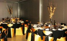 black and gold party tables with gold covers and black ties Black And Gold Theme, Black Gold Party, 50th Party, 60th Birthday Party, Gold Wedding Theme, Wedding Themes, Wedding Ideas, Batman Wedding, Gold Centerpieces