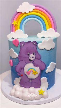 Care Bear Birthday, Baby Birthday Cakes, Girl Birthday, Care Bear Cakes, Funny Cake, Cake Decorating Videos, Girl Cakes, Cute Cakes, Baby Shower Cakes