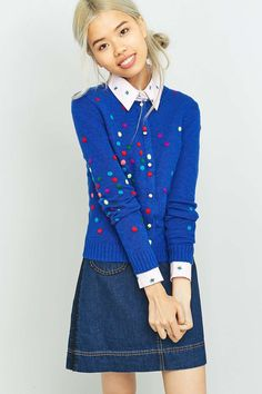 Manoush Maille Polka Dot Blue Cardigan - Urban Outfitters