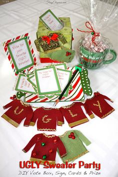 Easy to create Ugly Sweater Vote Box, Vote Cards, Vote Sign & Prize! Perfect for your Ugly Sweater Party! Christmas Ornaments To Make, Christmas Makes, Christmas Tag, Christmas Themes, Christmas Crafts, Holiday Ideas, Christmas Stuff, Holiday Cards, Xmas Party