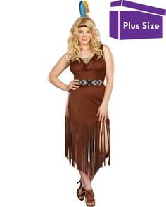 12a9dac0224 Hot On The Trail Womens Plus Size Costume Cowboy And Indian Costume