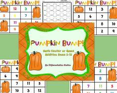 FREE!!! Pumpkin Bump!  A Pumpkin / Fall Themed Math Center, Game, and Printable.  Addition 2-12.  Kindergarten, first grade, homeschooling, and special education instruction.