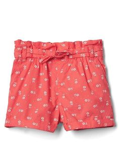 Gap Baby Floral Ruffle Tie-Belt Shorts Red Flower
