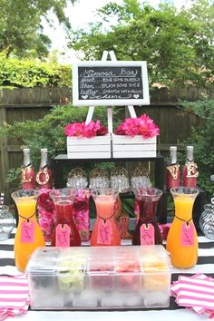 Kate Spade Theme Mimosa Wedding Drink Bar / www. Kate Spade Theme Mimosa Wedding Drink Bar / www. Drink Bar, Bar Drinks, Fruit Drinks, Beverages, Bridal Shower Party, Bridal Shower Decorations, Bridal Shower Drinks, Wedding Showers, Themed Bridal Showers