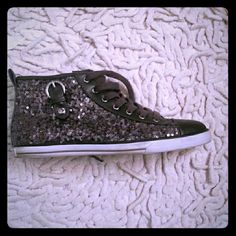 ☆☆☆☆☆HOST PICK ☆☆☆☆☆☆☆Bedazzled high tops Look like converse sneakers. Bedazzled with grey sequins. Worn twice. Still good condition. G by Guess Shoes