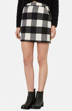 Nordstrom  Topshop Brushed Gingham A-Line Skirt