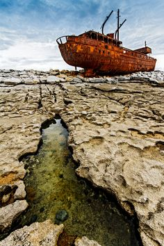 "The wreck of the Plassey, Aran Island, Ireland; seen in the beginning of each ""Father Ted"" episode! Aran Islands, Co. Abandoned Ships, Abandoned Buildings, Abandoned Places, The Places Youll Go, Places To See, Ghost Ship, Emerald Isle, Shipwreck, Ireland Travel"