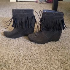 Brown tassel boots Dark brown suede tassel boots. Only worn once. Size 7 Breckelles Shoes