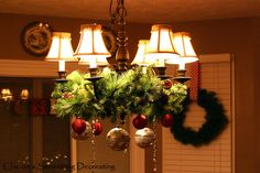 Decorating a chandelier for Christmas