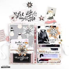 I am super excited to share my Snowflake project with you! I love the Crate Paper Snowflake collection as I am sure you do as well! Mini Albums, Mini Scrapbook Albums, Scrapbook Page Layouts, Scrapbook Pages, Scrapbooking Ideas, Happy December, December Daily, Christmas Time, Christmas Crafts