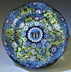 """Perthshire {Scotland} paperweight - Ltd. Ed. Faceted Millefiori w/Butterfly, PP131A,  1990, 3""""w x 2""""t, 16 oz. - #0645"""