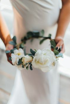 Sage Eucalyptus Leaves and Ivory Rose Flower Crown inspired by romance and ethereal aesthetic by Love Sparkle Pretty. Pair this Bridal Crown with lock flowing locks and a soft veil! https://www.etsy.com/listing/266673549/sienna-flower-crown-created-with-ivory Photo by Desiree Shuey