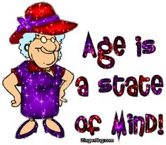 Age Is A State Of Mind Red Hat Lady MySpace Glitter Graphic Comment-paint it