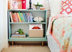 This nightstand hack transformed a basic bedside essential into a bookcase that houses favorite bedtime stories.