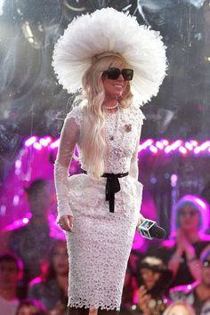 Minus the hat, I like this Gaga getup. The exaggerated hips make her waist look teeny tiny.