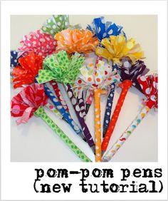SewSara: New Tutorial for pom-pom pens!