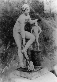 This statue was excavated at Pompeii, in a cupboard in cupboard in the tablinium of the House of Julia Felix aka La Casa della Venere in Bikini and is now in the 'private museum' section in the museum in Naples (photo); the house dates to between AD 62 and 79, and stood on the via dell'Abbondanza.