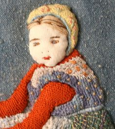 N e e d l e p r i n t Magazine Lynne Roche  stitched stumpwork piece Lynne Roche creates & has her own doll label.
