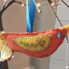 Embroidered Bird Ornament - main photo