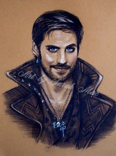 Captain Hook  Once Upon a Time original charcoal by artsez on Etsy, $80.00