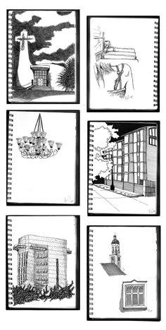 croquis diversos, tinta / various sketches, ink Gmo.L.02