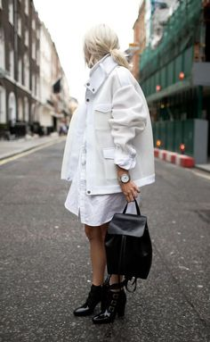 Chunky layering and an all white look.