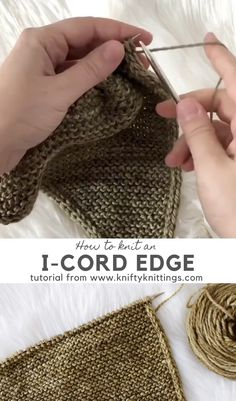 How to knit an i-cord edgeYou can find Knitting tutorials and more on our website.How to knit an i-cord edge Knitting Designs, Knitting Patterns Free, Knit Patterns, Knitting Projects, Sewing Patterns, Knitting Tutorials, Knitting Ideas, Doll Patterns, Knit Sock Pattern