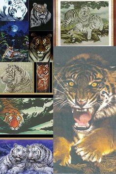 Тигры (вышивка крестом, подборка)