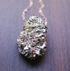 Pyrite Cluster Druzy Necklace in 14k Gold $72.00
