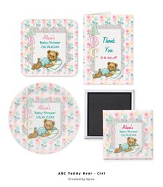 Adorable teddy bear girl baby shower collection. Pastel ABC accents with pretty aqua and pink baby rattles. Fun alphabet blocks patterned background.