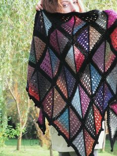 """Knit shawl """"Marc Shagall"""" (knitted wrap, knitting lace, wool shawl, modular squares, patchwork, stained-glass, domino knitting)"""