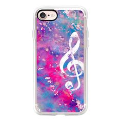 Bright pink purple watercolor white classical music note - iPhone 7... ($40) ❤ liked on Polyvore featuring accessories, tech accessories, iphone case, apple iphone case, purple iphone case, slim iphone case, iphone cases and iphone cover case