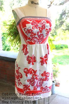 Did you fall in love with that vintage table cloth you saw at the thrift store?  Make a cute dress, by Sew Country Chick.