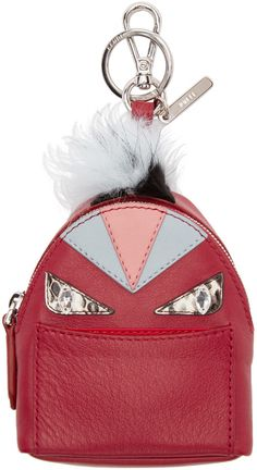 Fendi - Red Fur-Trimmed Charm Wonders Backpack Keychain Backpack Keychains, Fendi Clothing, Red Fur, Key Chains, Fur Trim, Handbag Accessories, Sunnies, Fashion Backpack, Charms