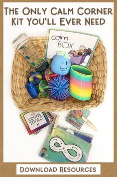 The Ultimate Calm Corner Toolbox! A Self Regulation & Behavior Management Kit for School or Home Use - Maternelle Calm Down Box, Calm Box, Calm Down Corner, Classroom Behavior, Preschool Classroom, Classroom Themes, Kindergarten, Behavior Management System, Classroom Management