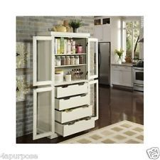 Pantry Cabinet Nantucket Kitchen Storage Hutch Cupboard Furniture White