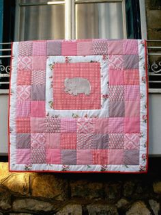 Pink/grey baby quilt, made from vintage and new fabrics with appliqued elephant