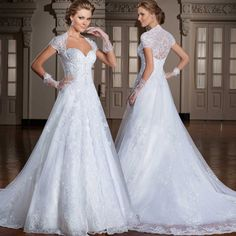 2015 new design sweetheart see through back a-line with short sleeves long lace wedding dress