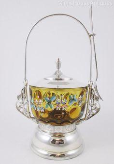 EXCELLENT antique PICKLE CASTOR - Honey AMBER ivt Bowl Enamel Floral - c.1890's #Unknown