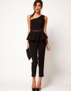 ASOS Embellished Peplum Jumpsuit With One Shoulder