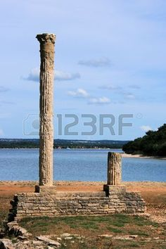 columns of the Venus Temple looking out over the sea in national park Brioni, Croatia