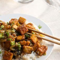 Sweet-and-Sour Tofu with Bok Choy Recipe Main Dishes with firm tofu, flour, salt, safflower, lemon juice, honey, soy sauce, ginger, garlic, Sriracha, baby bok choy, scallions