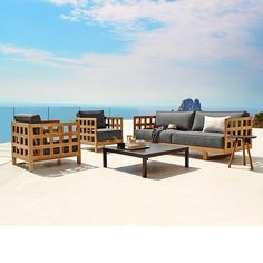 Square collection with teak base and sunbrella natte cushions