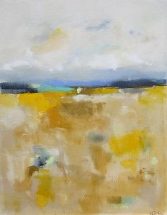 Colorful Yellow Abstract Landscape Original by lindadonohue    .